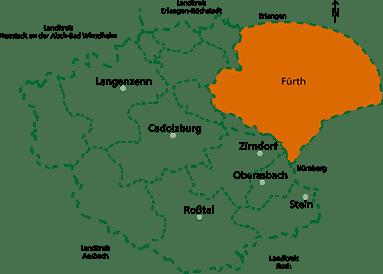 Palliativ-Care Team - Karte Versorgungsgebiet
